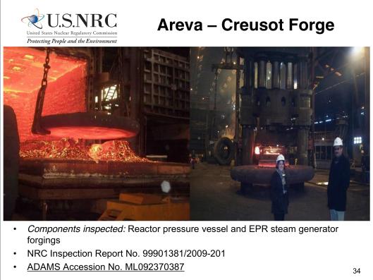 NRC Inspection Le Creusot 2009